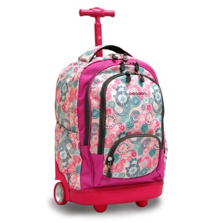 J World New York Raspberry Sunbeam 18-inch Rolling Laptop Backpack