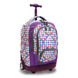 J World New York Checkmate Sunbeam 18-inch Rolling Laptop Backpack