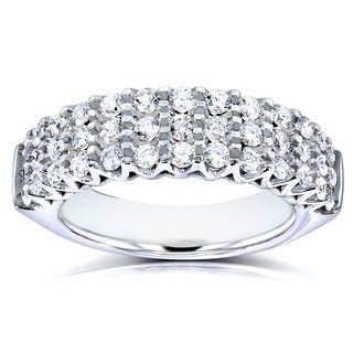 Annello 10k White Gold 1ct TDW Multi Row Diamond Wedding Band (H-I, I2-I3)