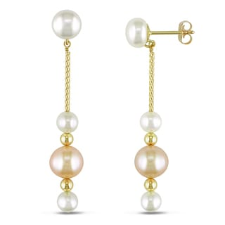 Miadora 14k Yellow Gold Pink and White Cultured Freshwater Pearl Drop Earrings (4-7 mm)