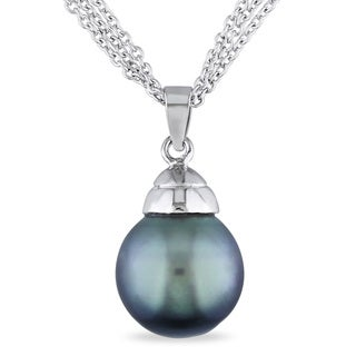 Miadora Sterling Silver Tahitian Pearl Drop Necklace (12 mm)
