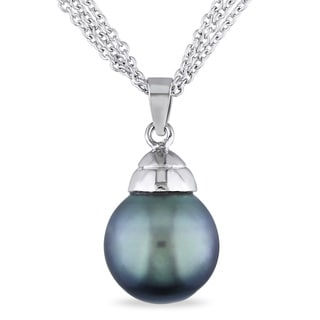 Miadora Sterling Silver Tahitian Pearl Necklace (12 mm)