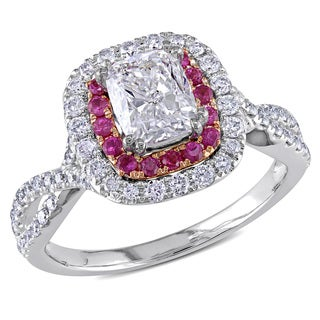 Miadora 14k Two-tone Gold 1 1/2ct TDW Diamond and Pink Sapphire Ring (G-H, I1-I2)