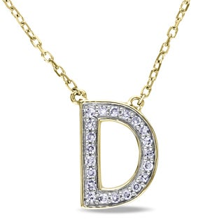 Miadora 14k Yellow Gold 1/10ct TDW Diamond 'D' Initial Necklace (G-H, SI1-SI2)