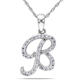 Miadora 10k White Gold 1/6ct TDW Diamond 'B' Initial Necklace (G-H, I1-I2)