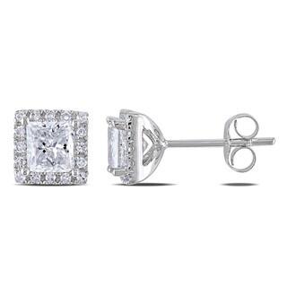 Miadora 14k White Gold 1 3/5ct TDW Diamond Halo Earrings (G-H, I1-I2)