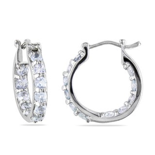 Miadora Sterling Silver 1 1/3ct TGW Aquamarine Hoop Earrings