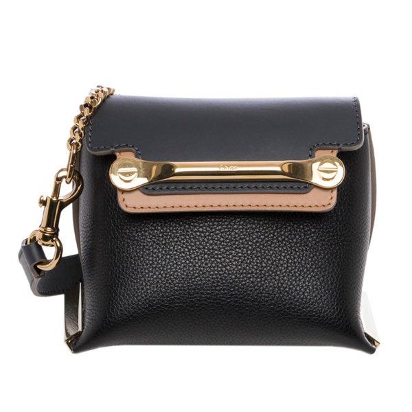 Chloe \u0026#39;Clare\u0026#39; Mini Black/ Sand Leather Crossbody Bag - 16270068 ...