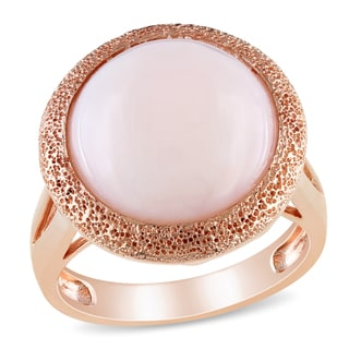 Miadora Rose-plated Silver Pink 4 1/2ct TGW Opal Cocktail Ring
