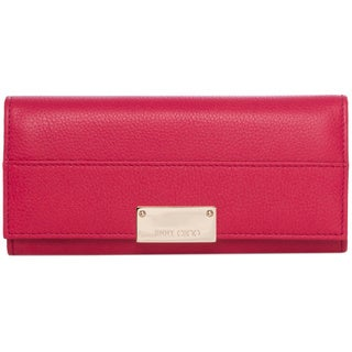 Jimmy Choo 'Reza' Pink Grainy Leather Wallet