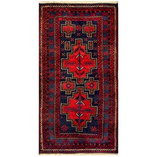 Herat Oriental Semi-antique Afghan Hand-knotted Tribal Balouchi Red/ Navy Wool Rug (2'7 x 4'11)