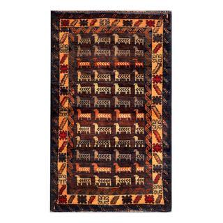 Herat Oriental Semi-antique Afghan Hand-knotted Tribal Balouchi Tan/ Navy Wool Rug (2'7 x 4'4)