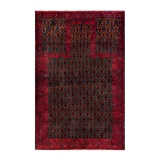 Herat Oriental Semi-antique Afghan Hand-knotted Tribal Balouchi Navy/ Red Wool Rug (2'10 x 4'5)
