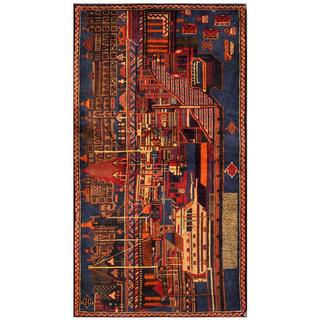 Herat Oriental Semi-antique Afghan Hand-knotted Tribal Balouchi Navy/ Orange Wool Rug (3' x 5'5)