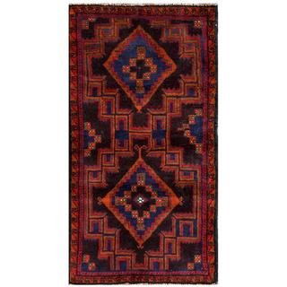 Herat Oriental Semi-antique Afghan Hand-knotted Tribal Balouchi Rust/ Navy Wool Rug (2'5 x 4'10)