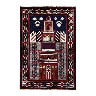 Herat Oriental Semi-antique Afghan Hand-knotted Tribal Balouchi Navy/ Red Wool Rug (2'11 x 4'5)