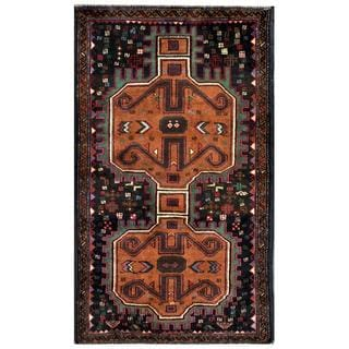 Herat Oriental Semi-antique Afghan Hand-knotted Tribal Balouchi Brown/ Navy Wool Rug (2'7 x 4'6)