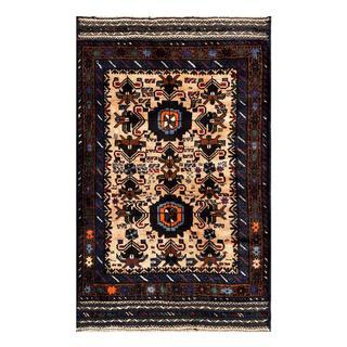 Herat Oriental Semi-antique Afghan Hand-knotted Tribal Balouchi Tan/ Navy Wool Rug (2'9 x 4'4)