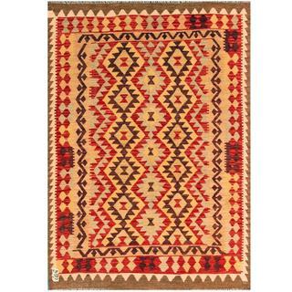 Herat Oriental Afghan Hand-woven Tribal Kilim Red/ Beige Wool Rug (4'11 x 6'5)
