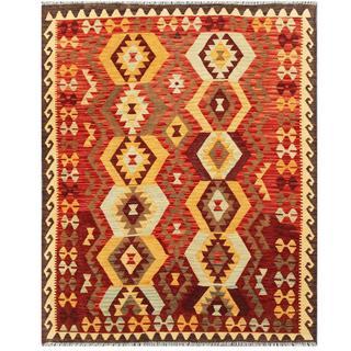 Herat Oriental Afghan Hand-woven Tribal Kilim Red/ Beige Wool Rug (5'1 x 6'5)
