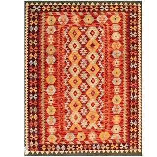 Herat Oriental Afghan Hand-woven Tribal Kilim Red/ Beige Wool Rug (5' x 6'4)