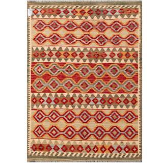 Herat Oriental Afghan Hand-woven Tribal Kilim Red/ Beige Wool Rug (4'9 x 6'7)