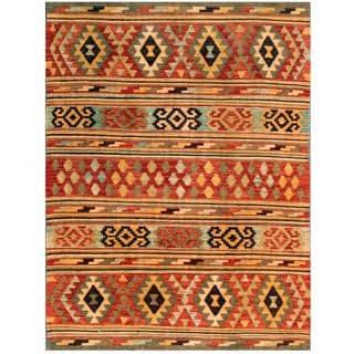 Herat Oriental Afghan Hand-woven Tribal Kilim Red/ Beige Wool Rug (4'11 x 6'7)