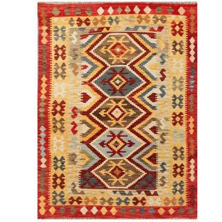 Herat Oriental Afghan Hand-woven Tribal Kilim Red/ Beige Wool Rug (4'10 x 6'6)