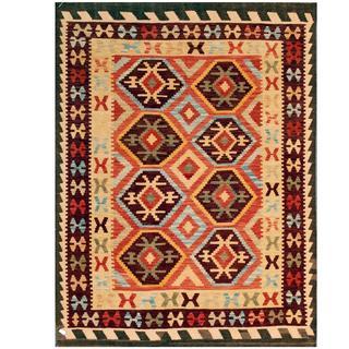 Herat Oriental Afghan Hand-woven Tribal Kilim Brown/ Red Wool Rug (4'10 x 6'5)