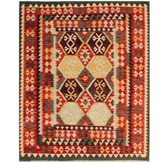 Herat Oriental Afghan Hand-woven Tribal Kilim Red/ Beige Wool Rug (5'1 x 6'3)