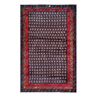Herat Oriental Semi-antique Afghan Hand-knotted Tribal Balouchi Maroon/ Red Wool Rug (2'6 x 4'9)