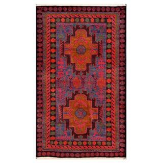 Herat Oriental Semi-antique Afghan Hand-knotted Tribal Balouchi Red/ Navy Wool Rug (2'7 x 4'4)