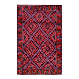 Herat Oriental Semi-antique Afghan Hand-knotted Tribal Balouchi Blue/ Red Wool Rug (2'11 x 4'6)