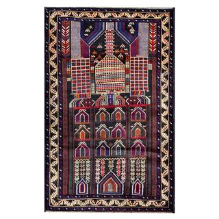 Herat Oriental Semi-antique Afghan Hand-knotted Tribal Balouchi Navy/ Beige Wool Rug (2'9 x 4'6)