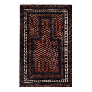 Herat Oriental Semi-antique Afghan Hand-knotted Tribal Balouchi Navy/ Brown Wool Rug (2'9 x 4'3)