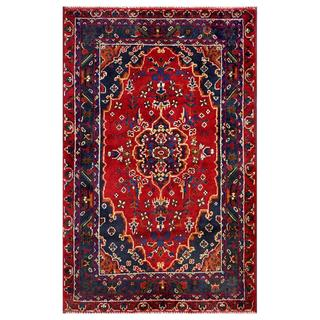 Herat Oriental Semi-antique Afghan Hand-knotted Tribal Balouchi Red/ Navy Wool Rug (2'11 x 4'5)