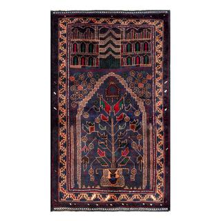 Herat Oriental Semi-antique Afghan Hand-knotted Tribal Balouchi Navy/ Beige Wool Rug (2'7 x 4'5)