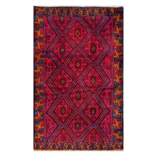 Herat Oriental Semi-antique Afghan Hand-knotted Tribal Balouchi Red/ Navy Wool Rug (2'10 x 4'6)