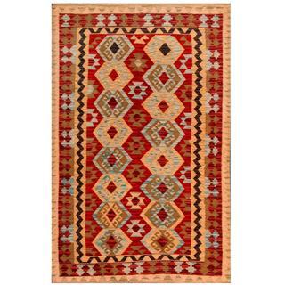 Herat Oriental Afghan Hand-woven Tribal Kilim Red/ Beige Wool Rug (4'1 x 6'2)