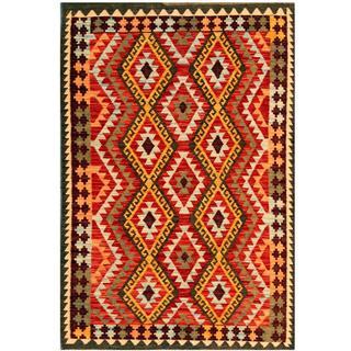 Herat Oriental Afghan Hand-woven Tribal Kilim Red/ Beige Wool Rug (4' x 5'10)