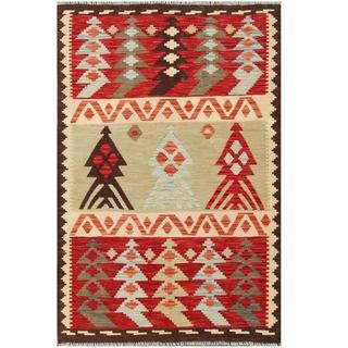 Herat Oriental Afghan Hand-woven Tribal Kilim Red/ Beige Wool Rug (3'10 x 5'10)