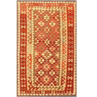 Herat Oriental Afghan Hand-woven Tribal Kilim Red/ Beige Wool Rug (4'2 x 6'5)