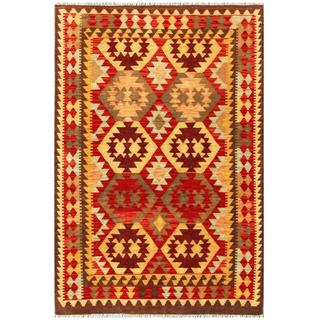 Herat Oriental Afghan Hand-woven Tribal Kilim Red/ Beige Wool Rug (4' x 6')