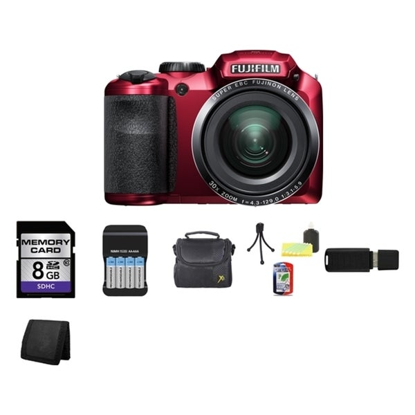 Fujifilm FinePix S4800 16MP Red Digital Camera 8GB Bundle