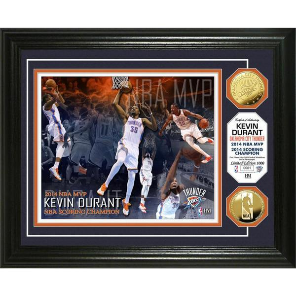 NBA Kevin Durant 2014 NBA MVP and Scoring Title Gold Coin Photo Mint Frame