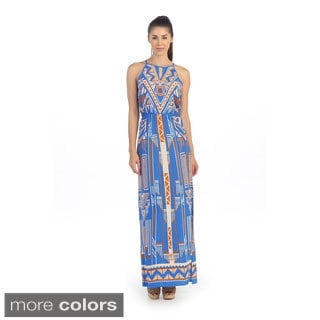 Hadari Women's Tropical Keyhole Maxi Dress