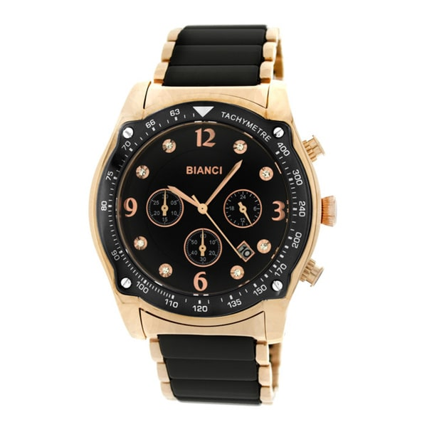 Roberto Bianci Men's 5874U Rose Gold-plated Black Ceramic Chronograph Watch