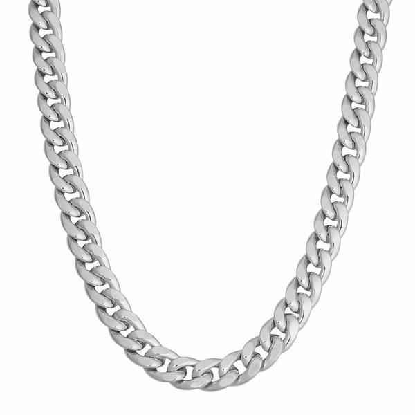 Fremada Rhodium Plated Sterling Silver Bold Hollow 8-mm Curb Link Necklace (20 inch)