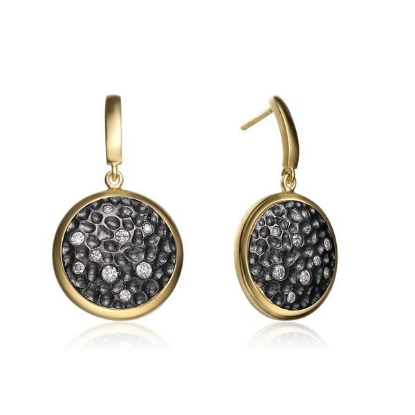 Collette Z Gold and Black-plated Sterling Silver Hammered Cubic Zirconia Round Drop Earrings