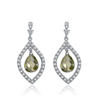 Collette Z Sterling Silver Green and White Cubic Zirconia Pear Shape Drop Earrings